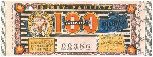 A Loteria do Sweepstake do Derby Paulista extraída em 09/12/1962