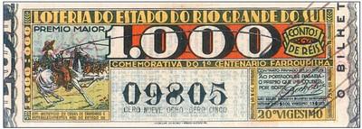 A loteria comemorativa do Primeiro Centenário da Revolução Farroupilha