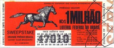Extração 19690803 - Sweepstake - Grande Prêmio Brasil - Jockey Club Brasileiro