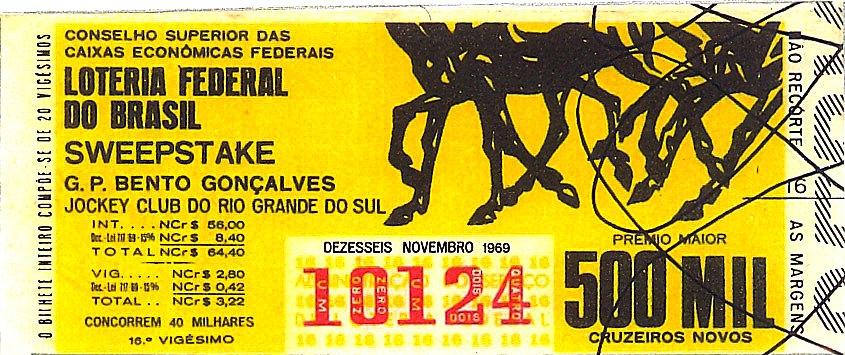 Extração 19691116 - Sweepstake - Grande Prêmio Bento Gonçalves - Jockey Club do Rio Grande do Sul
