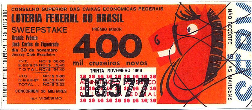 Extração 19691130 - Sweepstake - Grande Prêmio - José Carlos de Figueiredo - Jockey Club Brasileiro