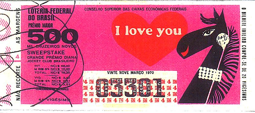 Extração 19700329 - Sweepstake - Grande Prêmio Brasil Diana - Jockey Club Brasileiro