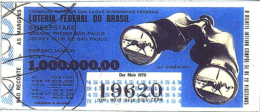 Extração 19700510 - Sweepstake - Grande Prêmio São Paulo - Jockey Club de São Paulo
