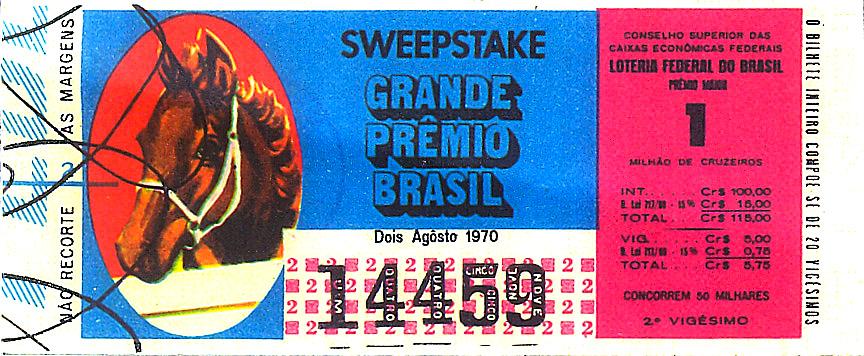 Extração 19700802 - Sweepstake - Grande Prêmio Brasil