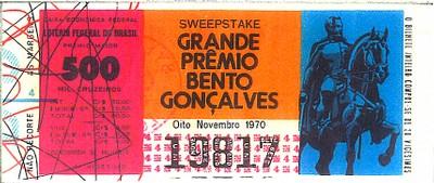 Extração 19701108 - Sweepstake - Grande Prêmio Bento Gonçalves